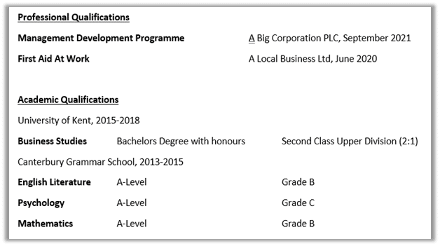 An example of how to write the education section of a CV.